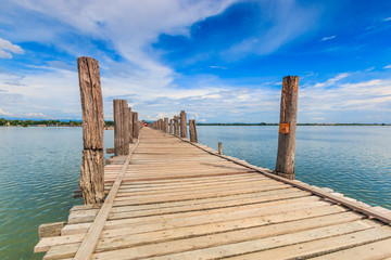 U-bein bridge at Taungthaman lake in Amarapura, Myanmar