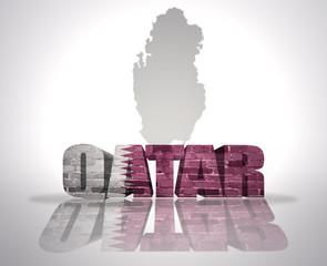 Word Qatar on a map background