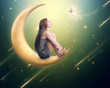 Leinwanddruck Bild - lonely thoughtful woman sitting on the crescent moon