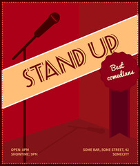 Stand up comedy poster with microphone, badge best comedians
