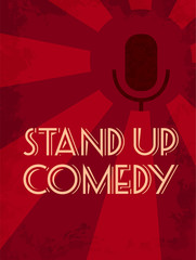 Stand up comedy poster with microphone at red background.