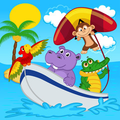animals on boat ride with monkey on hang glider -  eps