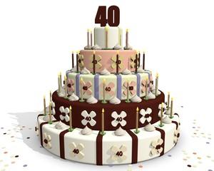 Taart met chocolade getal 40