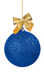 Blue Christmas ball with golden bow