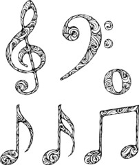isolated musical symbols with abstract pattern