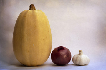 Spaghetti Squash, Onion and Garlic Still Life