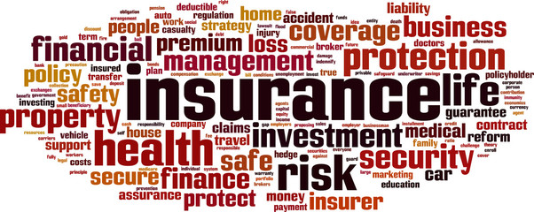 Insurance word cloud concept. Vector illustration