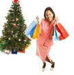 Excited African-American Christmas Shopper