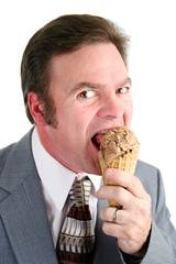 Businessman Enjoying Ice Cream Cone
