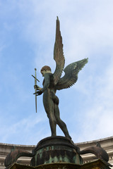 War Memorial Angel Statue with large wings and sword