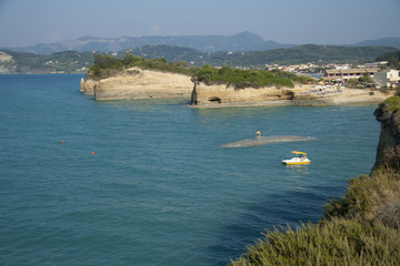 Coast of Corfu in Sidari village