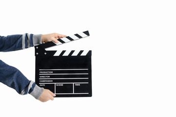 Clapperboard hold by child's hands