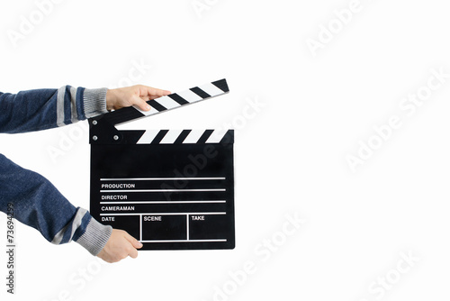 Poster Clapperboard hold by child's hands