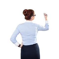 Young beautiful businesswoman with pen writing whiteboard
