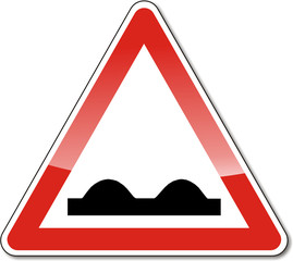 Verkehrszeichen, unebene Fahrbahn