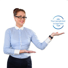 Business woman showing copy space up