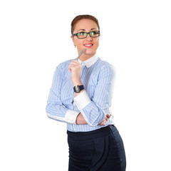 Young stylish business woman thinking with pen in hand on white.