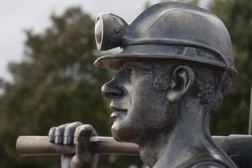 Bronze Coal Miner Statue Head Detail