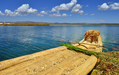 Reed boats on Uros floating islands, Titicaca lake, Peru
