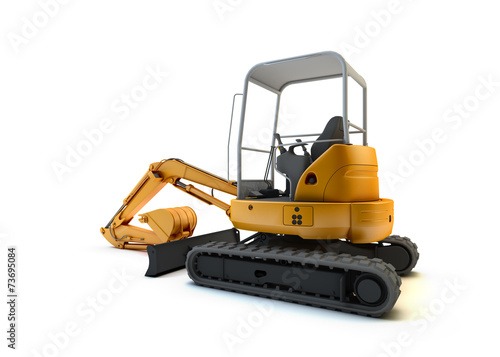 Yellow mini excavator isolated on white background - 73695084