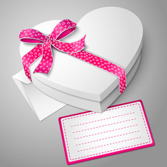 Vector realistic blank white heart shape box with ribbon, bow-