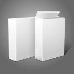 Two realistic white blank paper packages for cornflakes, muesli