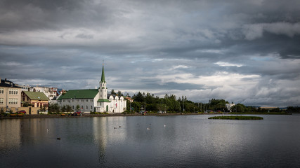 Reykjavik étang lac de Tjörnin