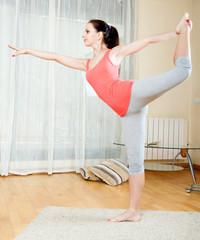 Brunette doing physical exercises