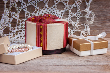 gift boxes on a wooden background