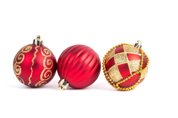 balls on Christmas tree isolated on white background