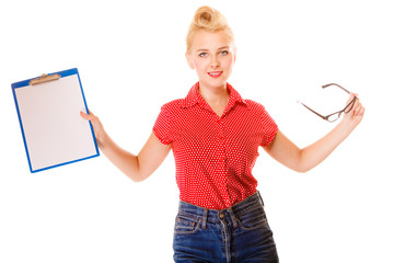 woman holding glasses and clipboard isolated