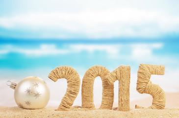Nombre 2015 sur le sable plage mer