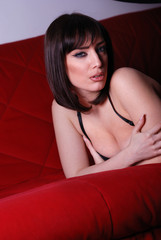 Attractive female in lingerie sitting on a red couch