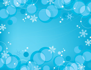 Retro Bubbles Snowflakes Background
