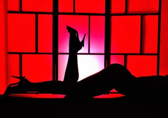 Sensual woman legs silhouette with high heels on red background