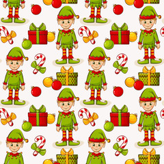 Christmas seamless background with elves. Vector pattern.