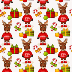 Christmas seamless background with deers. Vector pattern.