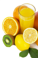 Fruits and glass of fresh juice