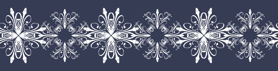 Seamless dark blue border with snowflakes