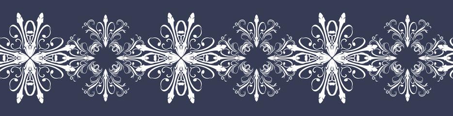 Seamless dark blue border with snowflakes