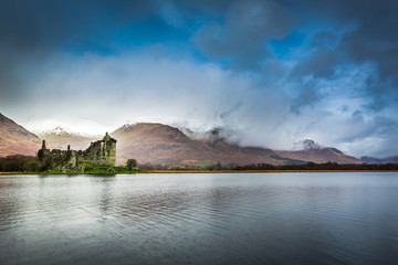 Kilchurn Castle over lake, Scotland