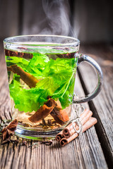 Hot tea with cinnamon and ginger