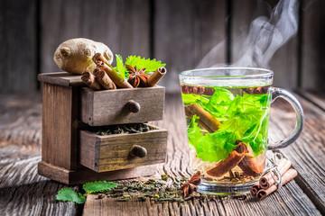 Warming leaf tea