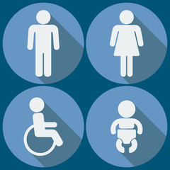 Set of 4 restroom icons. Vector.