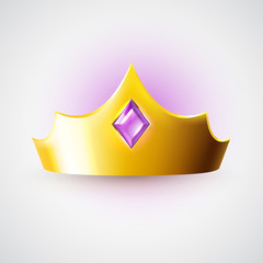 Golden crown with purple gem