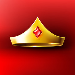 Golden crown with red gem