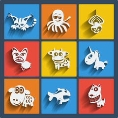 Set of 9 web and mobile animals icons. Vector.