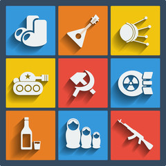 Set of 9 russia web and mobile icons. Vector.