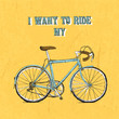 Vintage bycicle hand drawn poster - 73699610