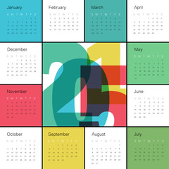 Calendar 2015 Colorful. Square composition